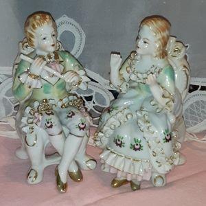 Bone China 24k antique english couple